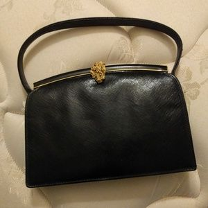 Saks 5th Ave clutch purse black leather.